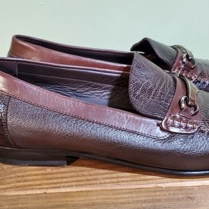 Mezlan brown ostrich leather loafers 8.5